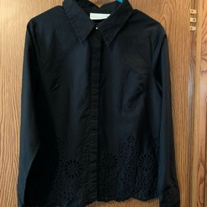 Black button up blouse with eyelets trim